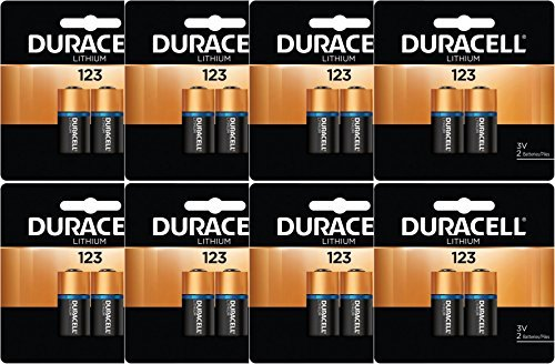 16 x Duracell DL123A CR123A 3 Volt Photo Lithium Batteries for flashlights in Original Packaging (8 x 2) by Duracell