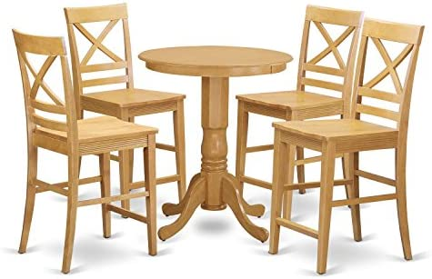 EDQU5-OAK-W 5 Pc counter height pub set – Dining Table and 4 Kitchen bar stool.