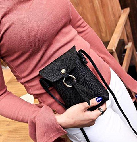 Joyfeel Mobile Women Black Purse Phone Coin PU Leisure Messenger Black Bag Bag Buy 1Pcs Simple Leather rwRqar