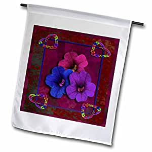Beverly Turner Heart Design - Four Vintage Hearts and Pansy Flowers, Red - 12 x 18 inch Garden Flag (fl_40562_1)