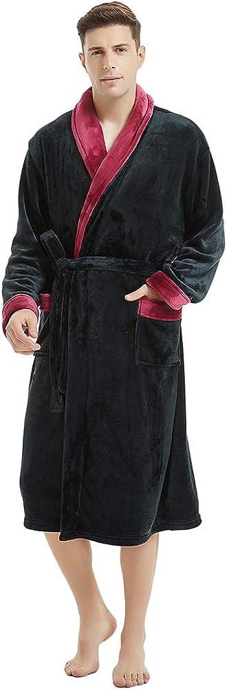 U2SKIIN Mens Fleece Robe Plush Collar Shawl Bathrobe