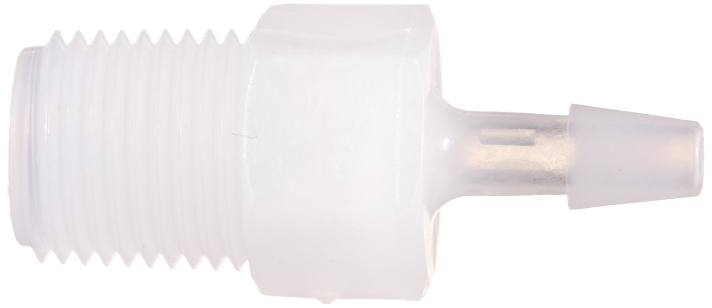 Eldon James A2-2NK Natural Kynar Adapter Fitting 1//8-27 NPT to 1//8 Hose Barb Pack of 10