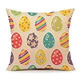 Easter Colorful Egg Throw Pillow Case Cushion Cover Cotton Linen 18 x 18 Inch(A)