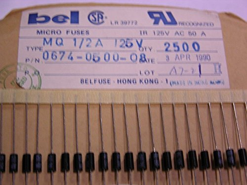 125 Bel Fuse Mq500 500Ma Quick Acting Axial Micro Fuses