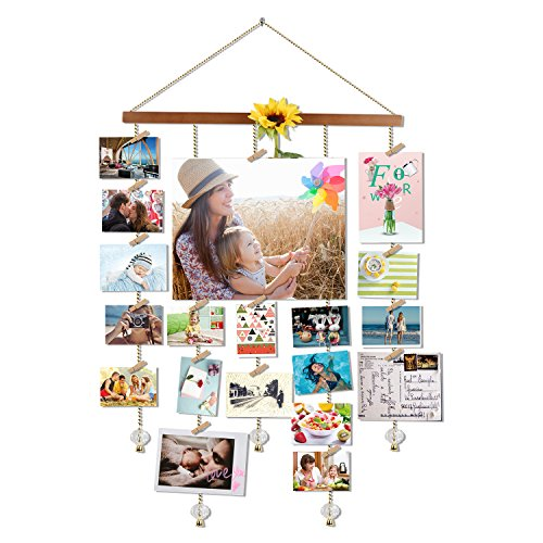 O-KIS Photo Display Picture Frame Collage by Multi Photo Display with 20 Clips, Aged Walnut Wood Golden Chain with Crystal Pendant 16×29 inch (Brown) - Make Photo Board