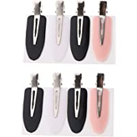 Blesiya 8 Pieces Plastic Seamless No Bend No Crease Mark Hair Clips for Women Hair Styling - Black+White+Pink