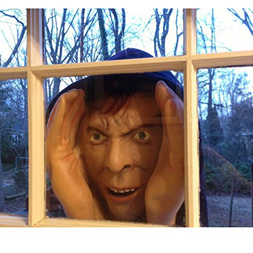 Scary Peeper Halloween Decoration - Peeping Tom Look Alike - Realistic Prank That Attaches To A Window To Scare Trick Or Treaters.