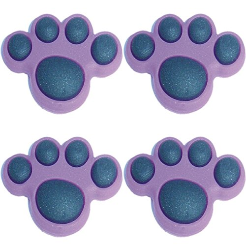 Paw Shoe Charm - Four (4) of Purple Paw Shoe Rubber Charms Jibbitz Croc Style
