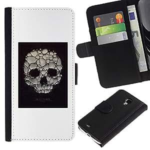 Be-Star la tarjeta de Crédito Slots PU Funda de cuero Monedero caso cubierta de piel Para Samsung Galaxy S4 Mini i9190 (NOT S4) ( Skull Soap Bubble Death Poster White )