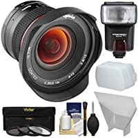 Opteka 12mm f/2.8 HD MF Prime Super Wide-Angle Lens with 3 UV/CPL/ND8 Filters + Flash + Diffuser + Reflector Kit for Sony Alpha E-Mount Digital Cameras