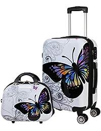 2-Piece Hardside Upright Spinner Luggage Set, Butterfly