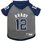 NFLPA TOM Brady Hoodie for Dogs & Cats. NFL New England Patriots Dog T-Shirt, Medium | Sports Hoody tee Shirt for Pets | Licensed Sporty Dog Shirt.