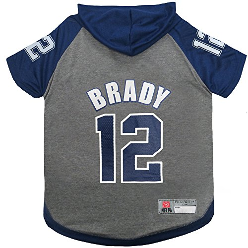NFL NFLPA Tom Brady Hoodie for Dogs & Cats New England Patriots Dog T-Shirt, Medium | Sports Hoody Tee Shirt for Pets | Licensed Sporty Dog Shirt.