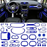 Danti 36 Pcs Car Interior Accessories Decoration Cover Air Conditioning Vent & Door Speaker & Water Cup Holder & Headlight Switch & Window Lift Button Covers for Jeep Renegade 2015-2018 (Blue)