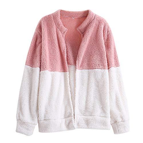 GREFER Fashion Winter Jacket Womens Fluffy Patchwork Coat Cardigan Overcoat Outwear -