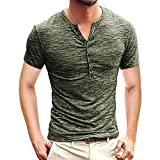 Winsummer Mens Casual Slim Fit Basic Henley Short Sleeve T-Shirt Lightweight V Neck Muscle Tops Army Green: more info