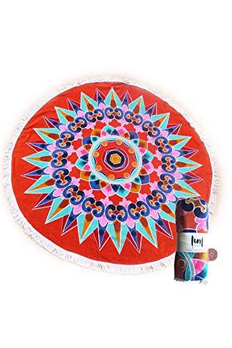 (Round Beach Towel with Tassels Luxe Boho Style Multicolor Roundie by LUNI (Red))
