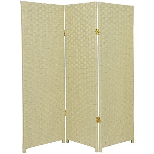 3 Drawer Panel - Oriental Furniture 4 ft. Tall Woven Fiber Room Divider - Cream - 3 Panel