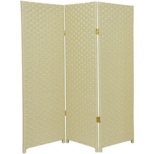 Oriental Furniture 4 ft. Tall Woven Fiber Room Divider - Cream - 3 (0.5' Furniture)