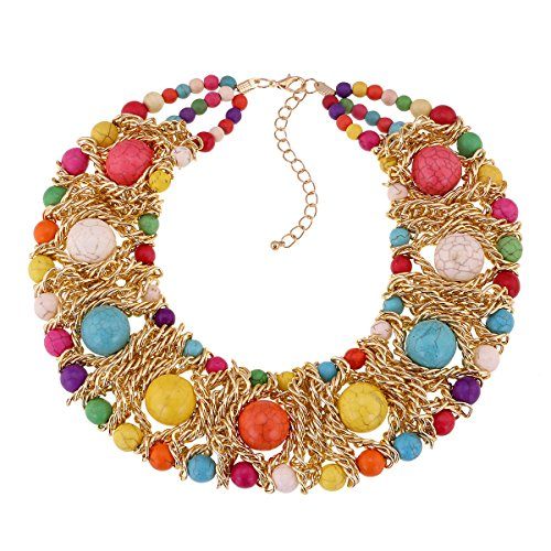 - Turquoise Beads Strands Statement Chain Necklace for Wedding Party Girl's Fashion Necklace
