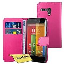 Moto G Case, FoneExpert® Premium Leather Book Wallet Case Cover For Motorola Moto G, 2013 (1st Gen) + Screen Protector & Cloth (Pink)
