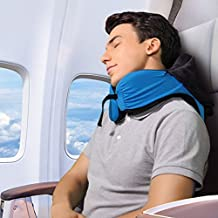 LANGRIA 6-in-1 Long Haul Astronaut Memory Foam Travel Pillow with Detachable Hood Adjustable Neck Size for All Ages Side Elastic Pocket Neck Travel Cushion for Plane Train Car Bus Office (Blue)