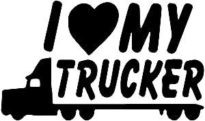 I Love My Trucker - Die Cut Vinyl Decal - 5.5