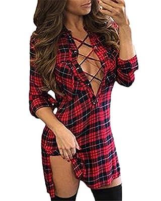 Wa-Sway Women Lace Up Shirt Bandage Dress Plaid Checkered Deep V Neck Long Sleeve Bodycon Dress