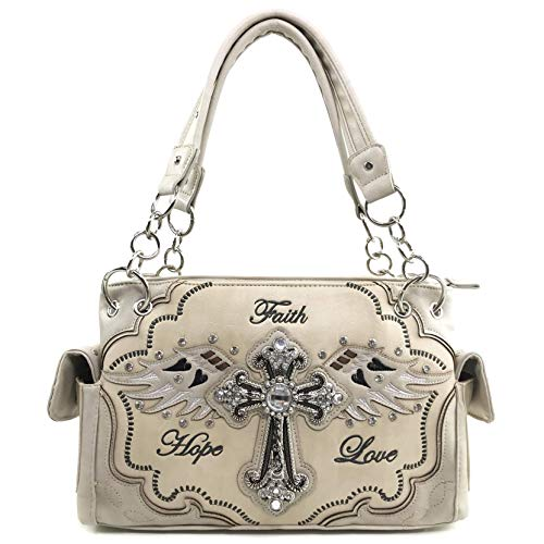 Justin West Cowgirl Western Cross Angel Wings Concealed Carry Handbag Purse Trifold Crossbody Messenger Bag Wallet (Beige Handbag) ()