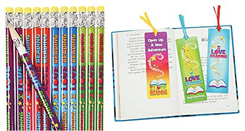 I Love Reading Pencils and Bookmark Set (48 Pieces)