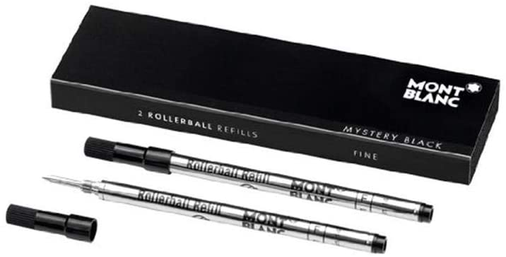 Montblanc Rollerball Refills Medium Point Mystery Black For Montblanc Rollerball/Fineliner Pens Except Meisterstuck LeGrand Rollerball 105158 (1 Pack of 2 refills )