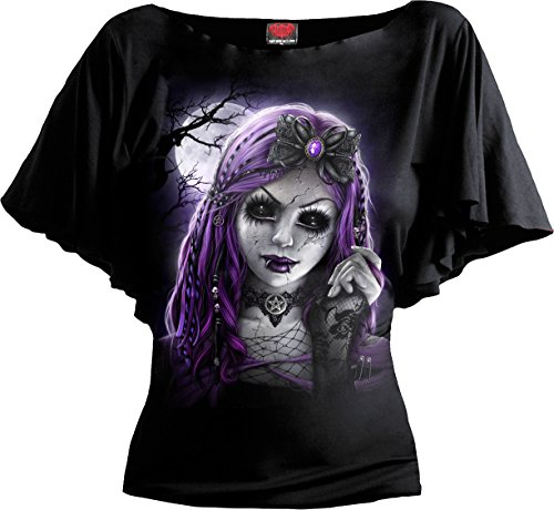(Spiral - Womens - Goth Doll - Boat Neck Bat Sleeve Top Black Plus Size - 3XL)