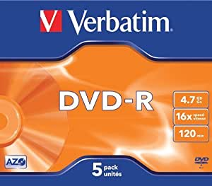 Verbatim DVD-R 4.7Gb 16X Jewel Case Pack of 5 43519 by Verbatim