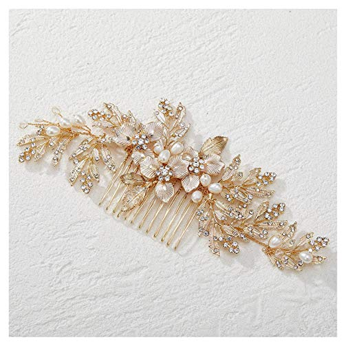 SWEETV Handmade Wedding Hair Comb Clip Rhinestone Bridal Hair Comb Piece, Gold Hair Accessories for Brides Wedding
