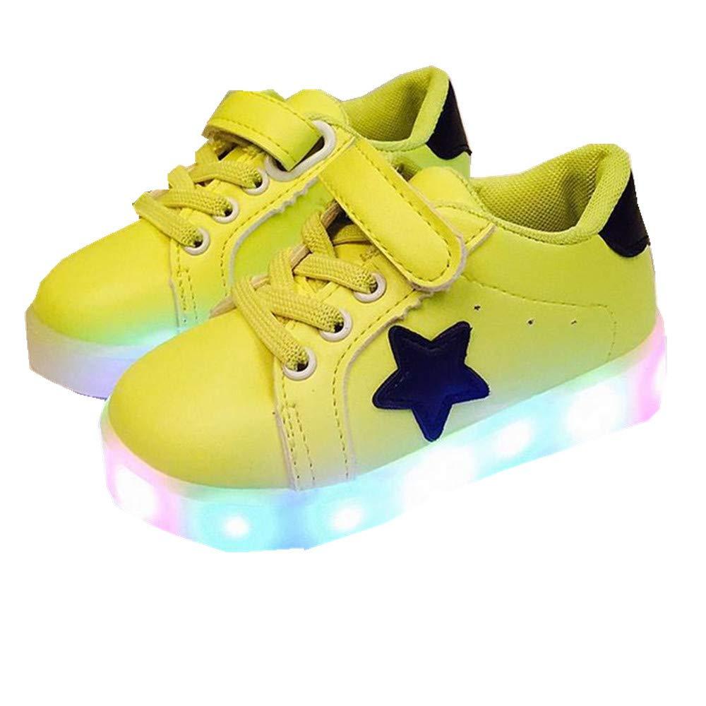edv0d2v266 Autumn Toddler Sport Running Baby Shoes Boys Girls LED Luminous Shoes Sneakers (Green 25/8.5MUSToddler)