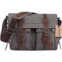 Jack&Chris®Canvas Genuine Leather Cross Body Messenger Handbag,MC2138K (dark gray)