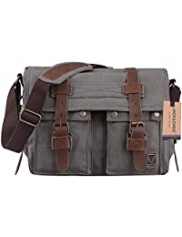 Jack&Chris®Canvas Genuine Leather Cross Body Messenger Handbag,MC2138K (dark gray)