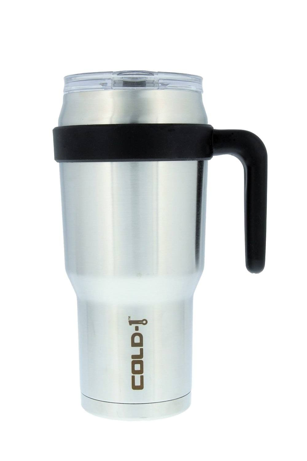 reduce COLD-1 Extra Large Vacuum Insulated Thermal Mug with Slender Base, 3-in-1 Lid & Straw, Ergonomic Handle, 40oz - Tasteless and Odorless Stainless Steel