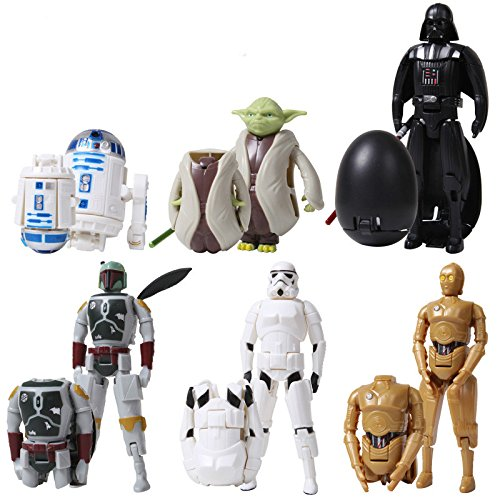 [6pcs/set cute deformable The Force Awakens egg Figures Toy Darth Vader & STORM TROOPER&Bounty hunter&R2D2&C-3PO Variable] (Woman Bounty Hunter Costume)