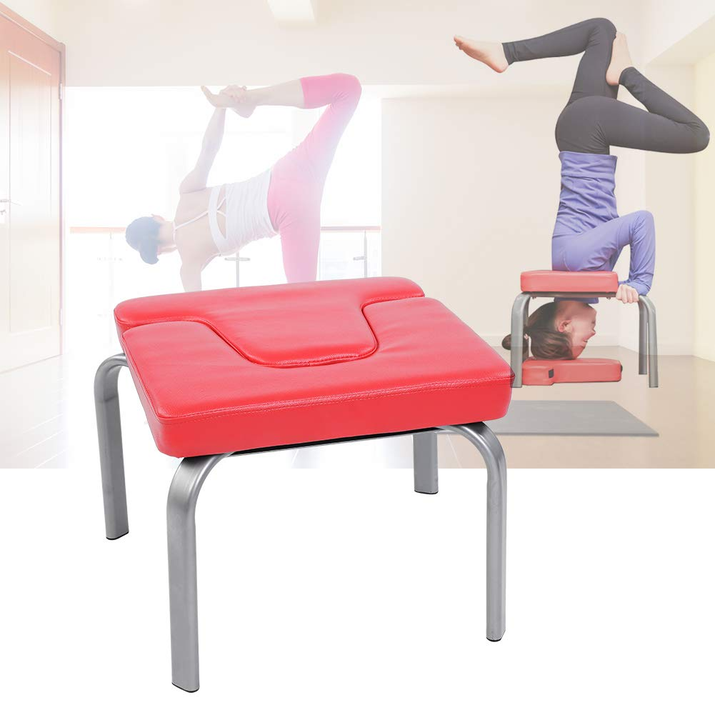 Estink Yoga Headstand Chair, Yoga Chair Headstand Inversion Bench Headstander Fitness Kit Red- Ideal Chair for Practice Head Stand, Shoulderstand, ...