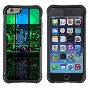 LASTONE PHONE CASE / Suave Silicona Caso Carcasa de Caucho Funda para Apple Iphone 6 / Colorful Woman Portrait Blue Green Design