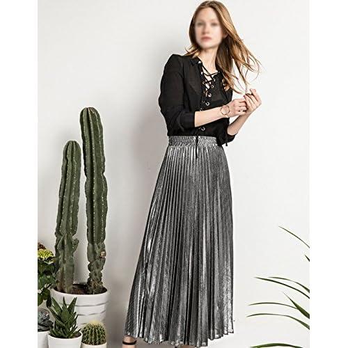 64946ec1df Sherry Skirts Women Summer Midi Skirt Metallic Elastic Long Pleated Skirt  Shiny Shimmer A Line High