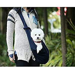 HITOP Dog Cat Pet Sling Carrier Bag, Outdoor Slings Carriers Reversible Shoulder Bag (Dark blue)