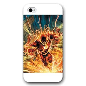 UniqueBox The Flash Custom Phone Case for iPhone 4 4S, DC comics The Flash Customized iPhone 4 4S Case, Only Fit for Apple iPhone 4 4S (White Frosted Shell)