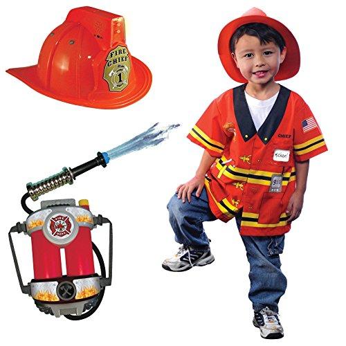 Firefighter size 3/5 Backpack & Helmet Costume Bundle Set