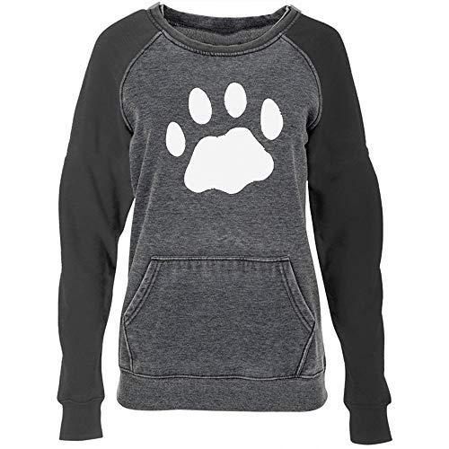 Women T-Shirt Long Sleeve Cute Puppy Paw Print Blouse Round Neck Pullover Tunic Shirt (Dark Grey, 2XL)