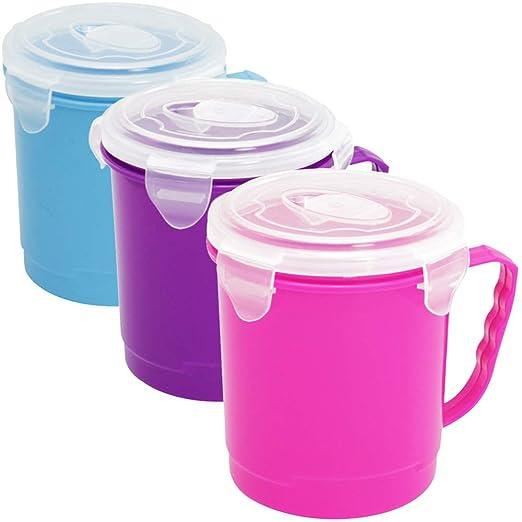 COM-FOUR® 3x Sopa para llevar - Platos de microondas con asa y ...