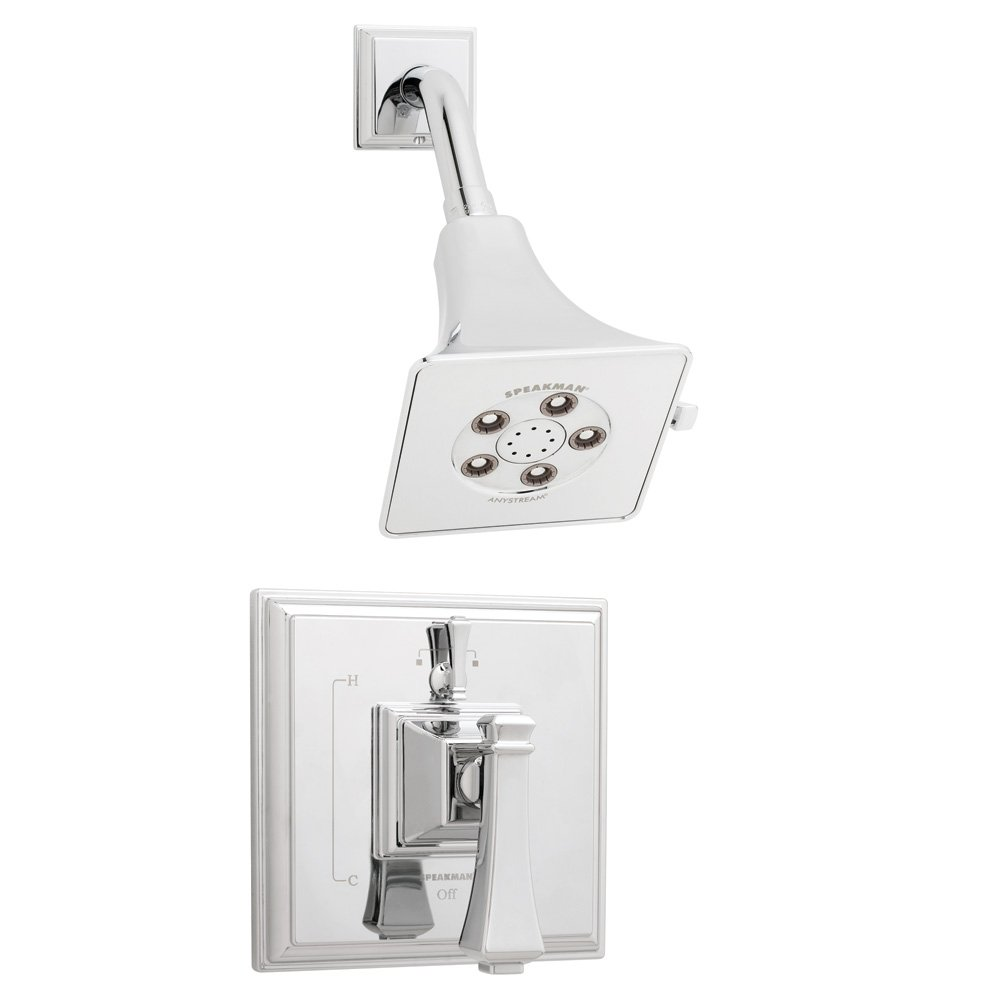 Polished Chrome Speakman Company Speakman SM-8410-P Rainier Anystream High Pressure Shower Head with Shower Valve Combo Shower System