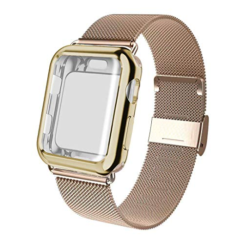 Compatible for Apple Watch Band 38mm 40mm 42mm 44mm Screen Protector Case, Sports Wristband Strap Replacement Band with Protective Case Compatible for iWatch Series 4 3 2 1,Gold