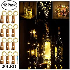 The Biggest Advantage of Our Wine Bottle Lights is 12 Pack Wine Bottle Lights with Cork at Good Price and Super Bright 20 LEDs on the Sliver Wire and 1 Screwdriver IncludedMain Features:1. The Warm White LED Bottle Light is Cute, Beautiful an...